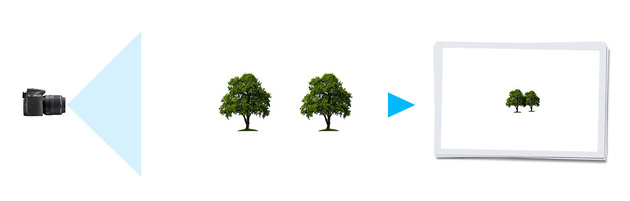 Широкий угол обзора, большая дистанция съемки: хоть объекты съемки на фото получились меньше, их пропорции относительно друг друга такие же, как при фотографировании с более узким углом обзора, ведь расстояние что до первого, что до второго объекта осталось таким же. На соотношение пропорций объектов в кадре (на передачу перспективы) влияет в первую очередь дистанция съемки. Угол обзора объектива определяет лишь крупность плана.