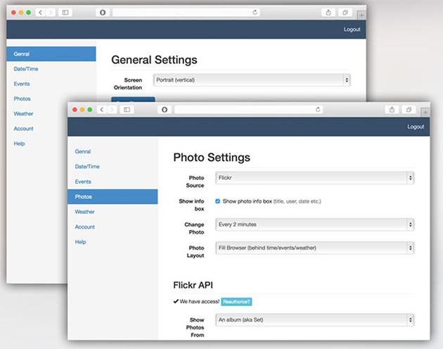 DAKboard – конфигурируемый экран для просмотра фотографий, календаря и погоды