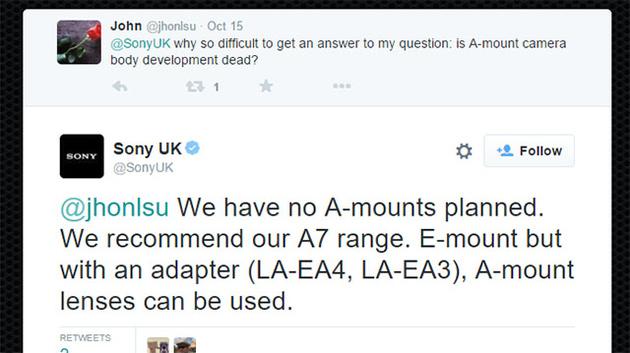 Sony UK сообщает, что выпуск камер Sony с байонетом А не планируется