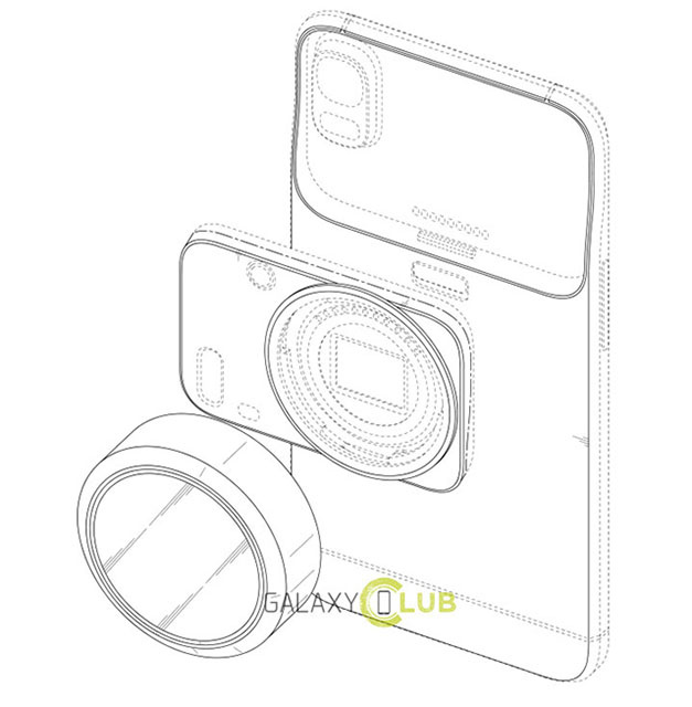 Патент Samsung – смартфон с заменяемым камерным модулем и сменными объективами