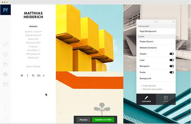 Adobe Portfolio позволяет создать сайт с портфолио за считаные минуты