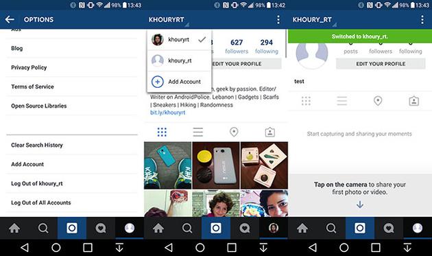 Реализовано простое переключение между несколькими аккаунтами в Instagram