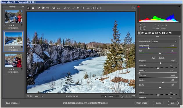 Приложение Adobe Camera Raw 9.5 получило новый интерфейс, совпадающий с Photoshop'ом