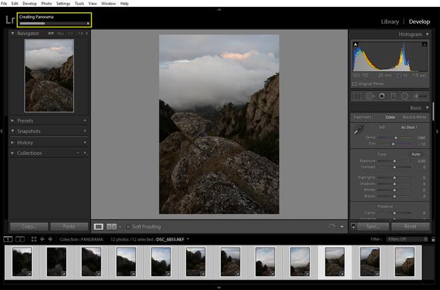 Как склеить панораму в Adobe Lightroom?