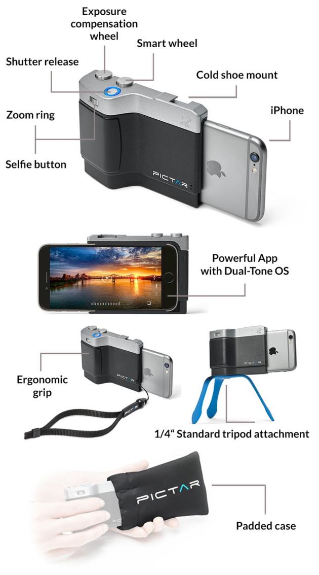 Рукоятка Miggo Pictar управляет камерой Айфона с помощью ультразвука