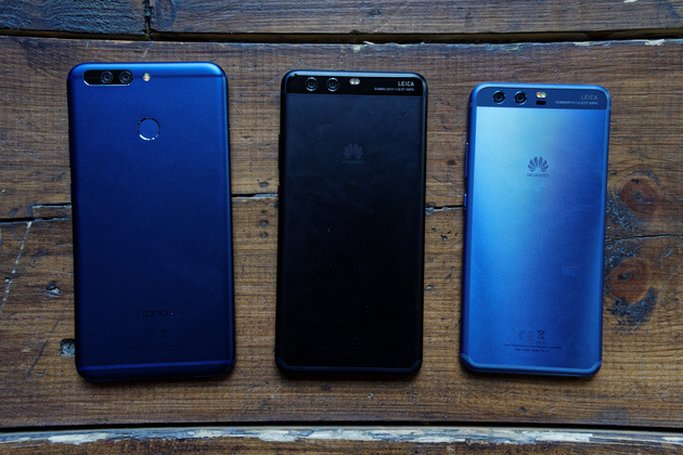 From left to right: Honor 8 Pro, Huawei P10 Plus, Huawei P10