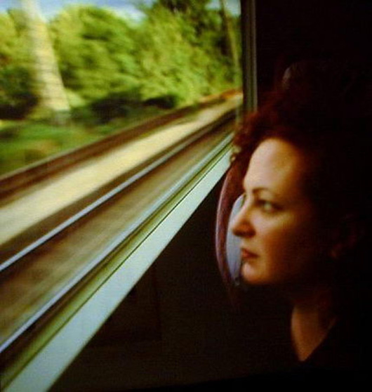 Nan Goldin, Self-portrait on the train (Boston - New Haven) 1997