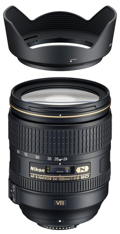 Объектив <span role='device-inline' data-device-id=14725 data-device-primary=true>Nikon AF-S Nikkor 24-120mm F/4G ED VR</span> и его бленда.