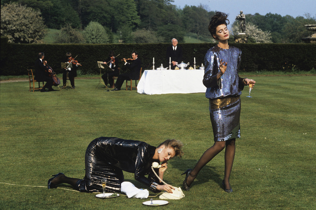 Denis Piel. Joan Severance _ Nancy Donahue. A World Apart -1, Castle Howard. Yorkshire. UK. Vogue USA. 1982