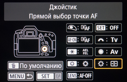 Перенастройка органов управления Canon EOS 6D Mark II