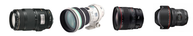 Слева направо:  EF75–300mm f/4–5.6 IS USM (1995 г), EF400mm f/4 DO IS USM (2001 г), EF24mm f/1.4L II USM (2008 г), EF11–24mm f/4L USM (2015 г).